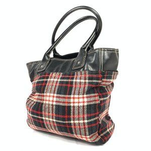 Tommy Hilfiger Red Plaid Black Leather Purse Bag